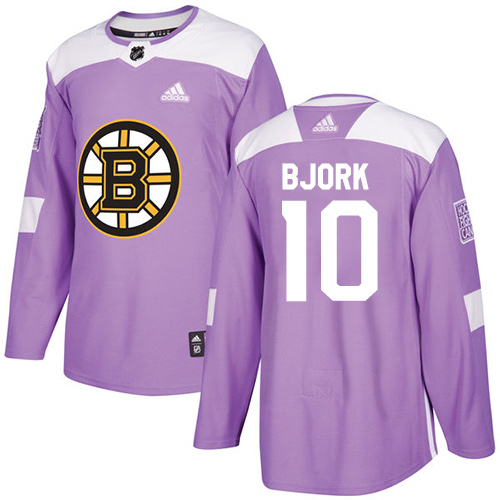 Men's Adidas Boston Bruins #10 Anders Bjork Authentic Purple Fights Cancer Practice NHL Jersey