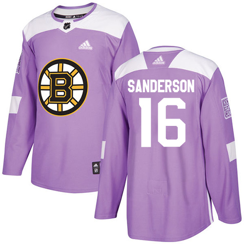 Men's Adidas Boston Bruins #16 Derek Sanderson Authentic Purple Fights Cancer Practice NHL Jersey