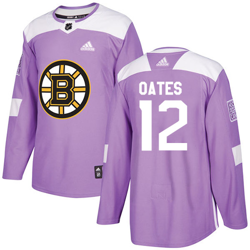 Men's Adidas Boston Bruins #12 Adam Oates Authentic Purple Fights Cancer Practice NHL Jersey