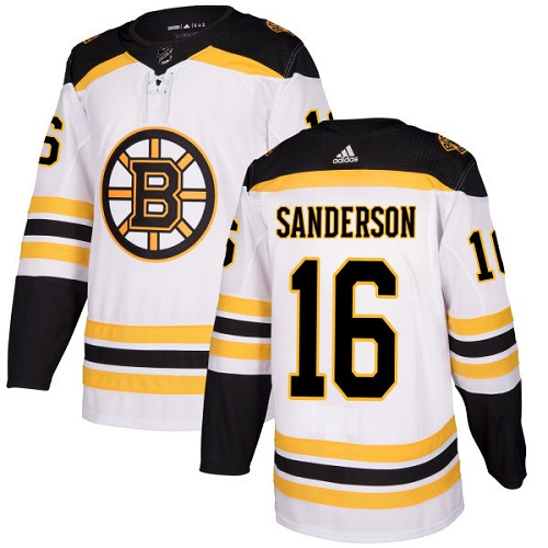 Men's Adidas Boston Bruins #16 Derek Sanderson Authentic White Away NHL Jersey