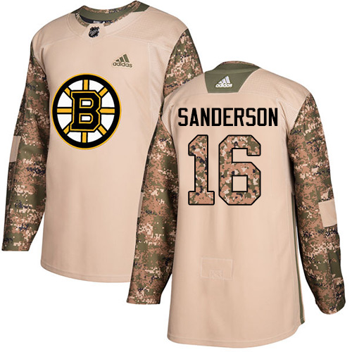 Men's Adidas Boston Bruins #16 Derek Sanderson Authentic Camo Veterans Day Practice NHL Jersey