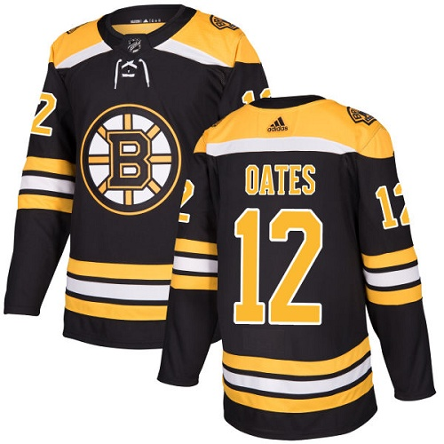 Men's Adidas Boston Bruins #12 Adam Oates Authentic Black Home NHL Jersey
