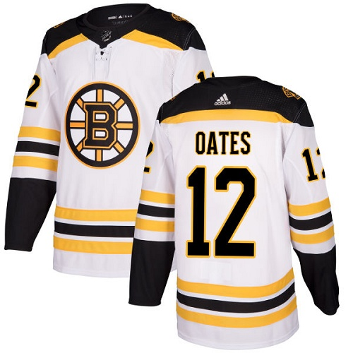 Men's Adidas Boston Bruins #12 Adam Oates Authentic White Away NHL Jersey