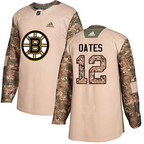 Men's Adidas Boston Bruins #12 Adam Oates Authentic Camo Veterans Day Practice NHL Jersey