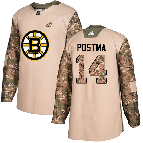Men's Adidas Boston Bruins #14 Paul Postma Authentic Camo Veterans Day Practice NHL Jersey