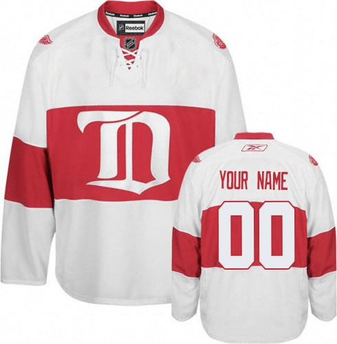 Men's Reebok Detroit Red Wings Customized Premier White Third NHL Jersey