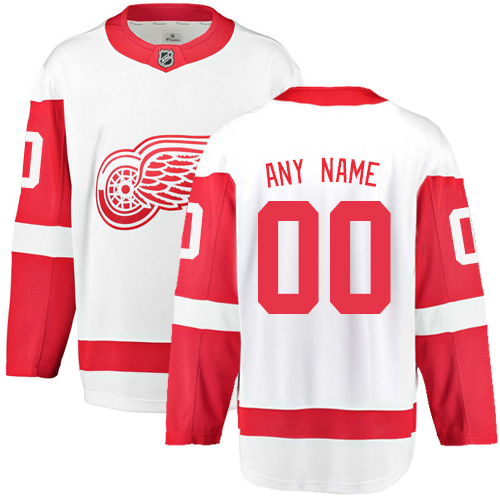 Men's Detroit Red Wings Customized Authentic White Away Fanatics Branded Breakaway NHL Jersey