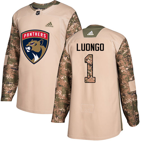 Men's Adidas Florida Panthers #1 Roberto Luongo Authentic Camo Veterans Day Practice NHL Jersey