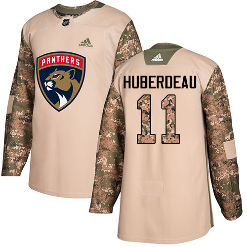 Men's Adidas Florida Panthers #11 Jonathan Huberdeau Authentic Camo Veterans Day Practice NHL Jersey