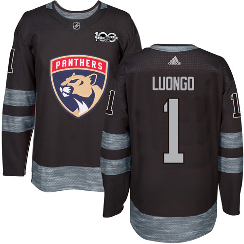Men's Adidas Florida Panthers #1 Roberto Luongo Authentic Black 1917-2017 100th Anniversary NHL Jersey