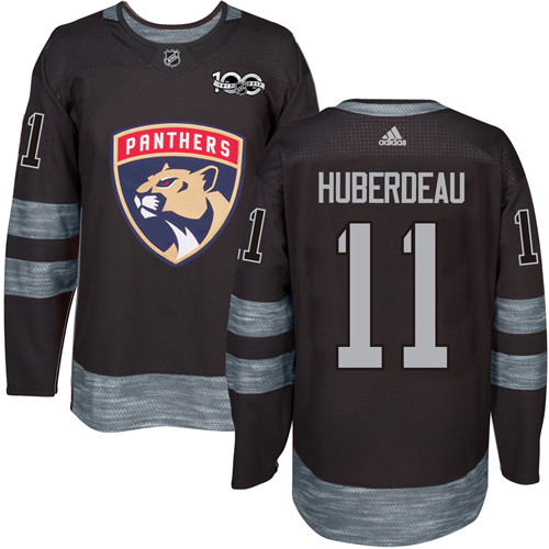 Men's Adidas Florida Panthers #11 Jonathan Huberdeau Premier Black 1917-2017 100th Anniversary NHL Jersey