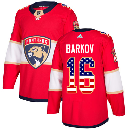 Men's Adidas Florida Panthers #16 Aleksander Barkov Authentic Red USA Flag Fashion NHL Jersey