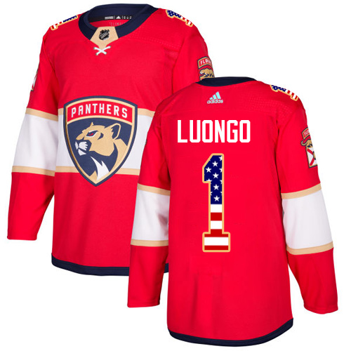 Men's Adidas Florida Panthers #1 Roberto Luongo Authentic Red USA Flag Fashion NHL Jersey