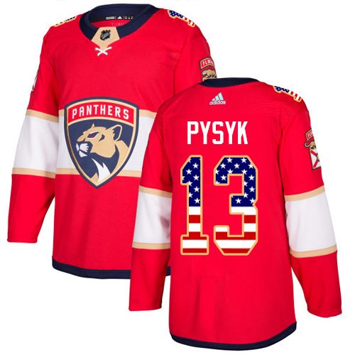 Men's Adidas Florida Panthers #13 Mark Pysyk Authentic Red USA Flag Fashion NHL Jersey