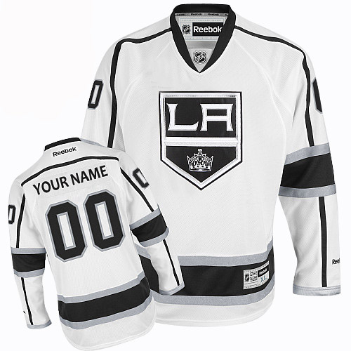 Men's Reebok Los Angeles Kings Customized Authentic White Away NHL Jersey