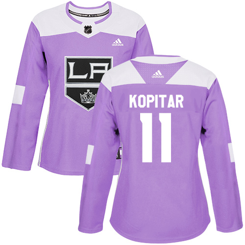 Women's Adidas Los Angeles Kings #11 Anze Kopitar Authentic Purple Fights Cancer Practice NHL Jersey