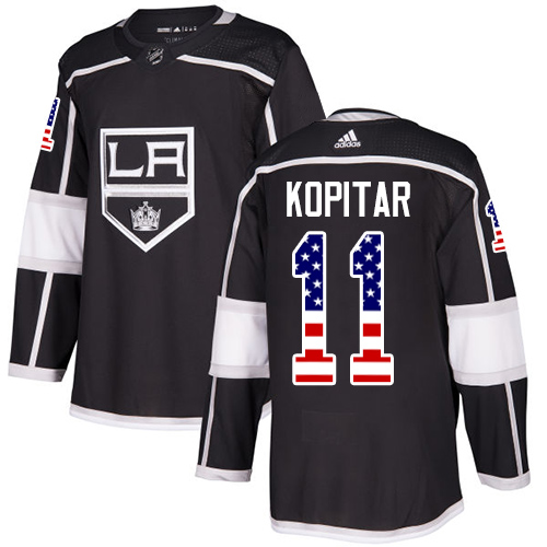 Men's Adidas Los Angeles Kings #11 Anze Kopitar Authentic Black USA Flag Fashion NHL Jersey