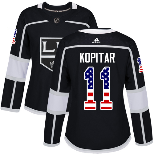 Women's Adidas Los Angeles Kings #11 Anze Kopitar Authentic Black USA Flag Fashion NHL Jersey