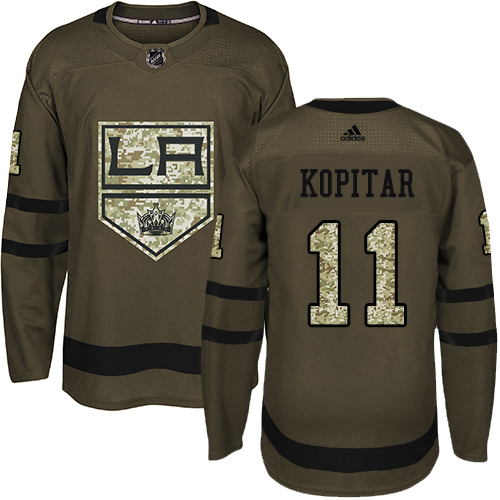 Men's Adidas Los Angeles Kings #11 Anze Kopitar Authentic Green Salute to Service NHL Jersey