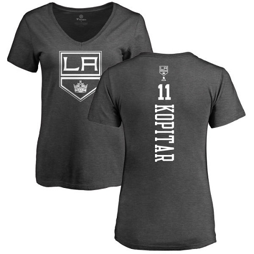 NHL Women's Adidas Los Angeles Kings #11 Anze Kopitar Charcoal One Color Backer T-Shirt
