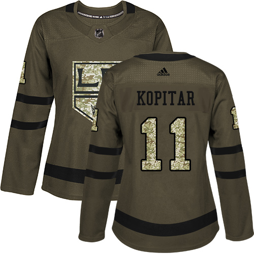 Women's Adidas Los Angeles Kings #11 Anze Kopitar Authentic Green Salute to Service NHL Jersey