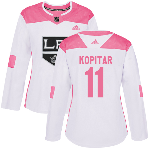 Women's Adidas Los Angeles Kings #11 Anze Kopitar Authentic White/Pink Fashion NHL Jersey