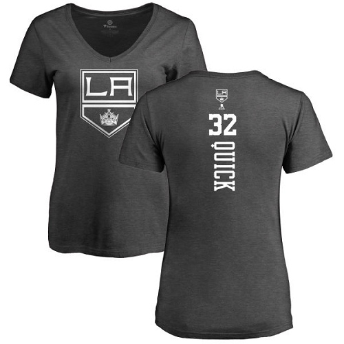 NHL Women's Adidas Los Angeles Kings #32 Jonathan Quick Charcoal One Color Backer T-Shirt