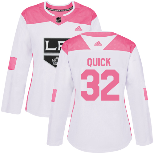 Women's Adidas Los Angeles Kings #32 Jonathan Quick Authentic White/Pink Fashion NHL Jersey