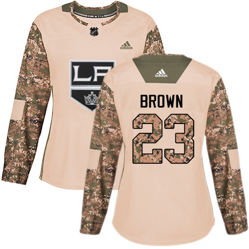 Women's Adidas Los Angeles Kings #23 Dustin Brown Authentic Camo Veterans Day Practice NHL Jersey