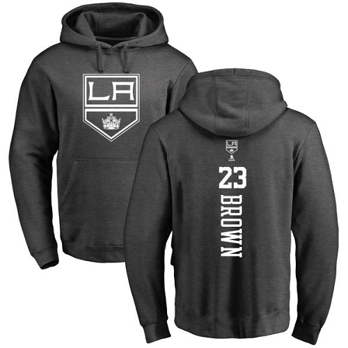 NHL Adidas Los Angeles Kings #23 Dustin Brown Charcoal One Color Backer Pullover Hoodie
