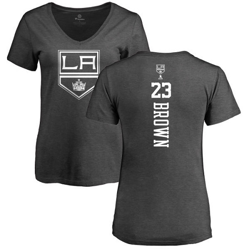 NHL Women's Adidas Los Angeles Kings #23 Dustin Brown Charcoal One Color Backer T-Shirt