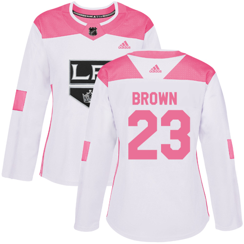 Women's Adidas Los Angeles Kings #23 Dustin Brown Authentic White/Pink Fashion NHL Jersey