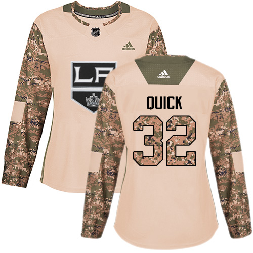 Women's Adidas Los Angeles Kings #32 Jonathan Quick Authentic Camo Veterans Day Practice NHL Jersey