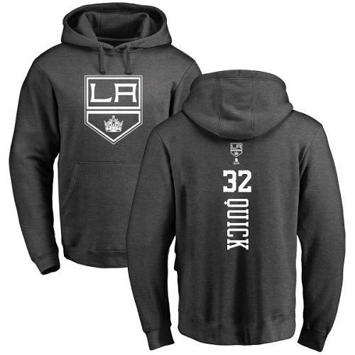 NHL Adidas Los Angeles Kings #32 Jonathan Quick Charcoal One Color Backer Pullover Hoodie