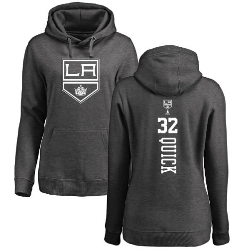 NHL Women's Adidas Los Angeles Kings #32 Jonathan Quick Charcoal One Color Backer Pullover Hoodie