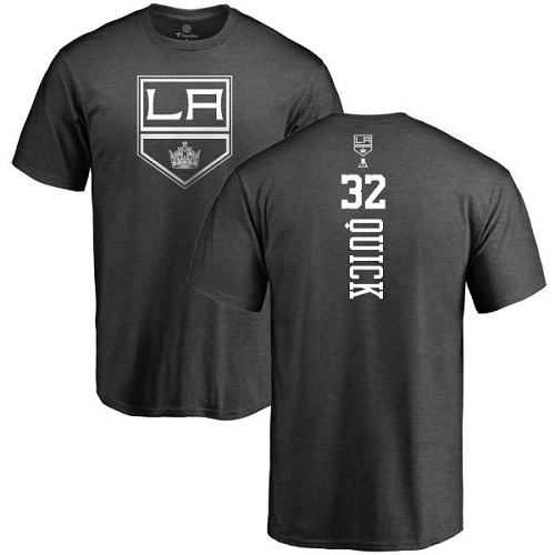 NHL Adidas Los Angeles Kings #32 Jonathan Quick Charcoal One Color Backer T-Shirt