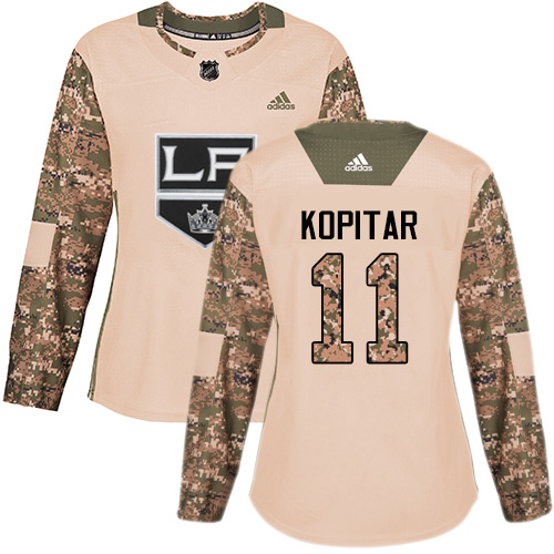 Women's Adidas Los Angeles Kings #11 Anze Kopitar Authentic Camo Veterans Day Practice NHL Jersey
