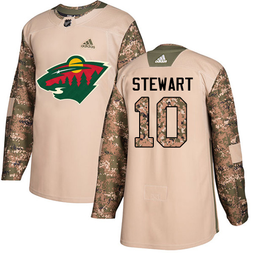 Men's Adidas Minnesota Wild #10 Chris Stewart Authentic Camo Veterans Day Practice NHL Jersey