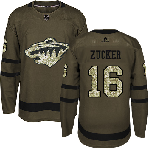 Men's Adidas Minnesota Wild #16 Jason Zucker Premier Green Salute to Service NHL Jersey