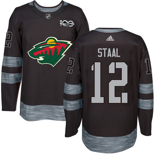 Men's Adidas Minnesota Wild #12 Eric Staal Authentic Black 1917-2017 100th Anniversary NHL Jersey