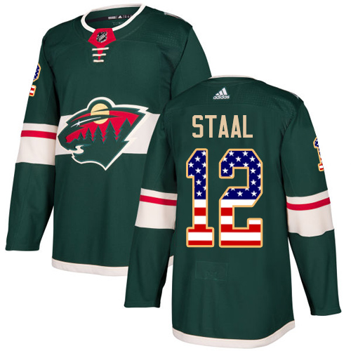 Men's Adidas Minnesota Wild #12 Eric Staal Authentic Green USA Flag Fashion NHL Jersey