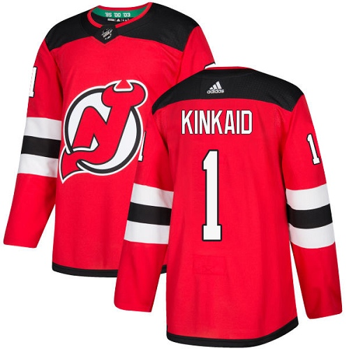Men's Adidas New Jersey Devils #1 Keith Kinkaid Premier Red Home NHL Jersey