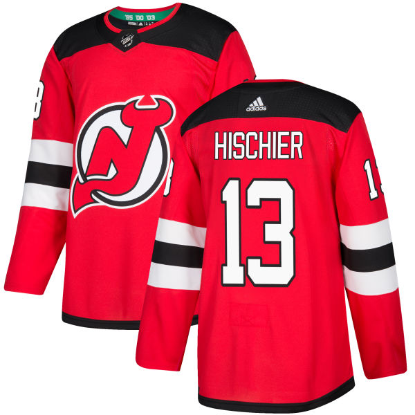 Men's Adidas New Jersey Devils #13 Nico Hischier Authentic Red Home NHL Jersey