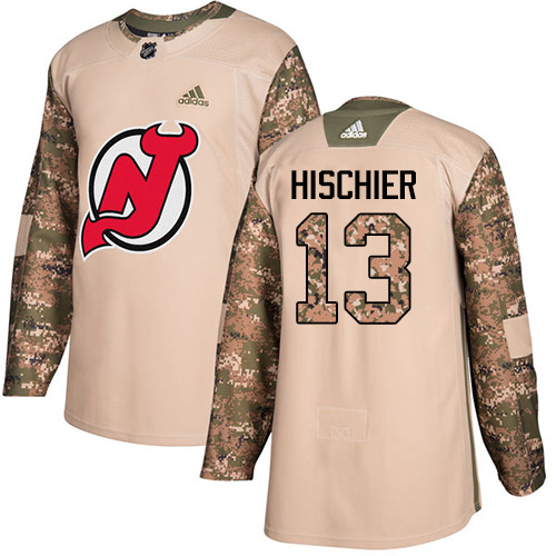 Men's Adidas New Jersey Devils #13 Nico Hischier Authentic Camo Veterans Day Practice NHL Jersey