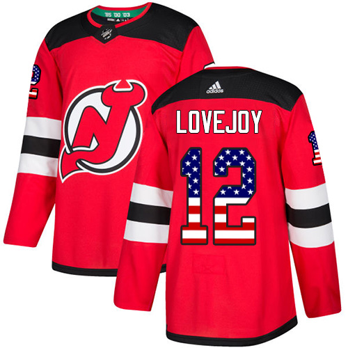 Men's Adidas New Jersey Devils #12 Ben Lovejoy Authentic Red USA Flag Fashion NHL Jersey