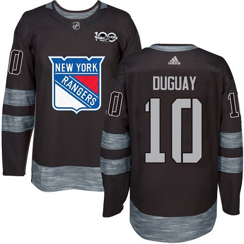 Men's Adidas New York Rangers #10 Ron Duguay Authentic Black 1917-2017 100th Anniversary NHL Jersey
