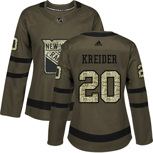 Women's Adidas New York Rangers #20 Chris Kreider Authentic Green Salute to Service NHL Jersey