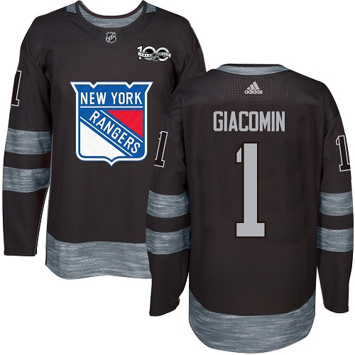 Men's Adidas New York Rangers #1 Eddie Giacomin Authentic Black 1917-2017 100th Anniversary NHL Jersey