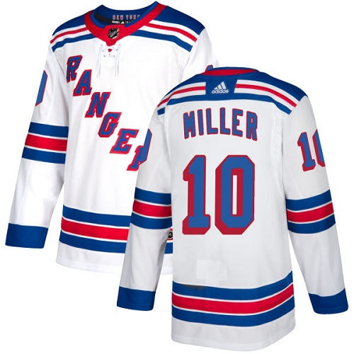 Men's Adidas New York Rangers #10 J.T. Miller Authentic White Away NHL Jersey