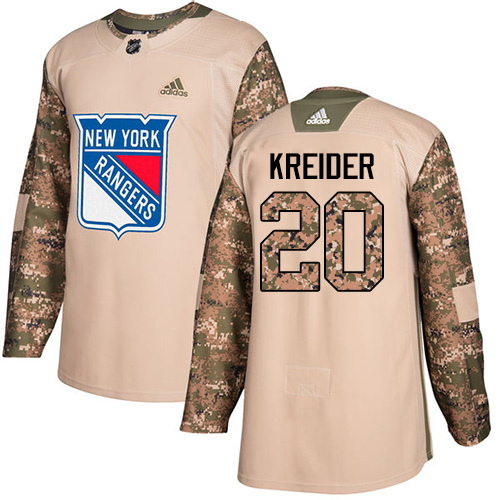 Youth Adidas New York Rangers #20 Chris Kreider Authentic Camo Veterans Day Practice NHL Jersey